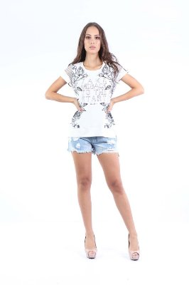 T-SHIRT CASUAL TRANSPARENCIA - OFF-WHITE