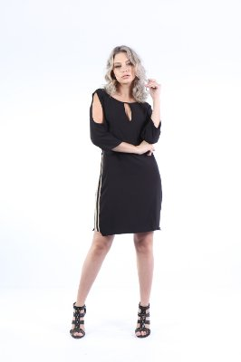 VESTIDO HAPPY HOUR LISTRA LATERAL - PRETO