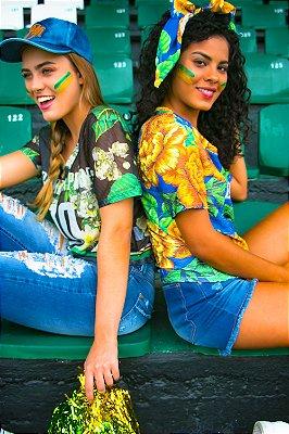 T-Shirt Bana Bana Tule com Estampa Floral Preto