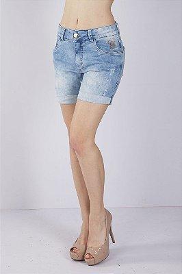 Bermuda Jeans Bana Bana Comfort com Bordado Azul
