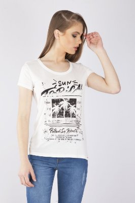 T-SHIRT CASUAL ESTAMPADA - OFF-WHITE