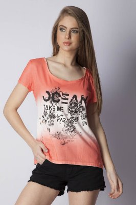 T-SHIRT CASUAL - CORAL