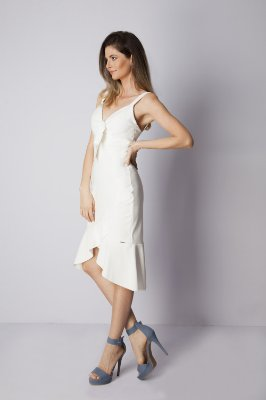 VESTIDO HAPPY HOUR LISO BABADO - OFF-WHITE
