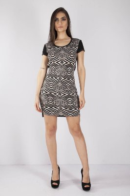 5be1ed136 VESTIDO HAPPY HOUR GEOMETRICO - PRETO/NUDE