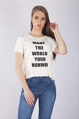 T-Shirt Bana Bana com Cortes a Laser Off White