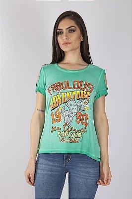 T-Shirt Bana Bana com Recorte Verde