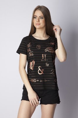 T-Shirt Bana Bana com Estampa Cobre e Preto