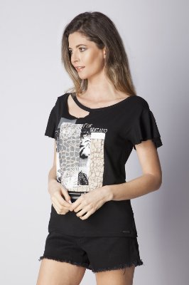 T-SHIRT CASUAL BEACH - PRETO
