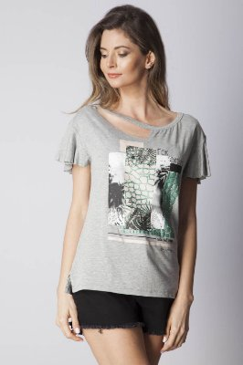 T-SHIRT CASUAL BEACH - MESCLA