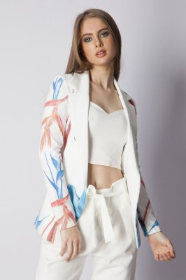 Blazer Bana Bana Alongado Estampado Off White