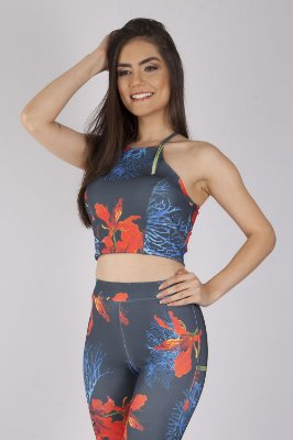 Cropped Bana Bana High Neck Estampado Azul