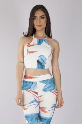 Cropped Bana Bana High Neck Estampado Off White