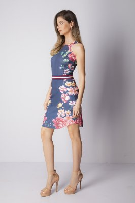 VESTIDO FLORAL HAPPY HOUR - BLUE BOTANIC LOC