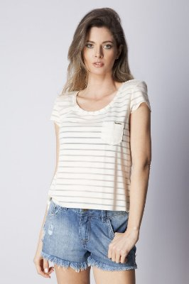 T-Shirt Bana Bana Leve Transparência Listrada Off White