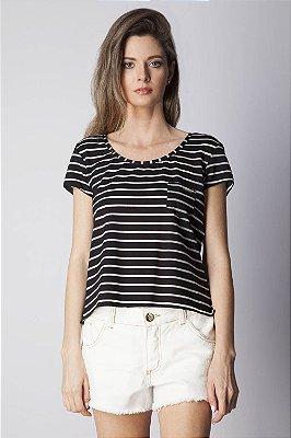 T-Shirt Bana Bana Leve Transparência Listrada Preta