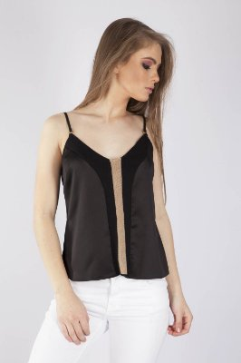 BLUSA ALÇA HAPPY HOUR SATIN - PRETO