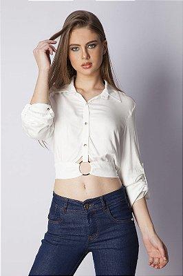 Camisa Bana Bana com Amarração e Argola Off White