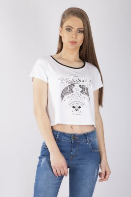T-Shirt Bana Bana com Detalhe Tricô Branco