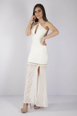 VESTIDO HAPPY HOUR RENDA COM PAETE - OFF-WHITE