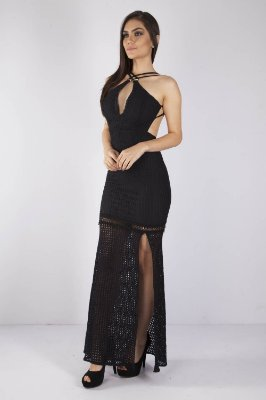 VESTIDO HAPPY HOUR RENDA COM PAETE - PRETO