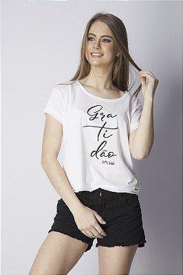 T-Shirt Bana Bana com Estampa Gratidão Branco