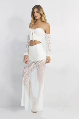Conjunto Bana Bana de Renda Saia Longa e Top Cropped Ciganinha Off White