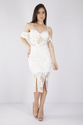 Vestido Midi Bana Bana com Fendas Frontais em Renda Branca