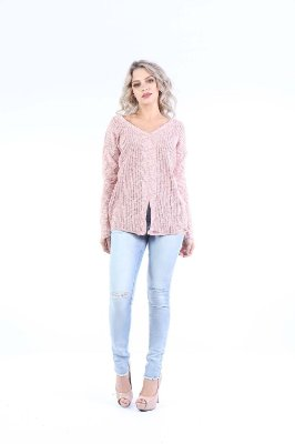 BLUSA CASUAL ABERTURA FRONTAL - ROSE