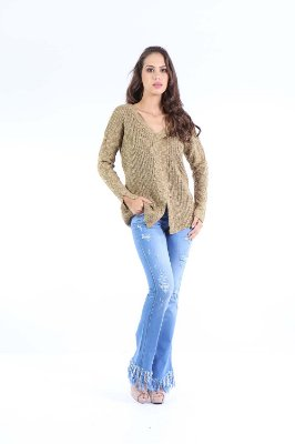BLUSA CASUAL ABERTURA FRONTAL - VERDE OLIVA