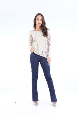 BLUSA CASUAL TRICO - BEGE
