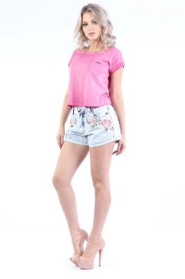 SHORTS HOT PANTS COM BORDADO - AZUL INDIGO