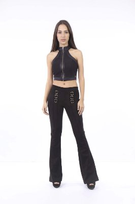 CROPPED HAPPY HOUR BICOLOR - PRETO