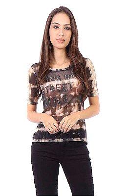 T-shirt Bana Bana Estampada de Tule Preto