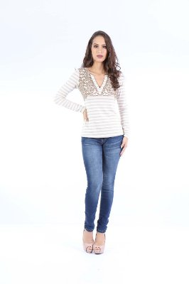 BLUSA CASUAL LISTRADA - OFF-WHITE