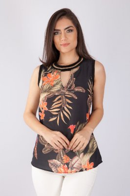 BLUSA HAPPY HOUR - CORAL FLOWERS