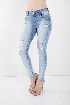 Calça Jeans Bana Bana Midi Skinny com Puídos Bana Bana