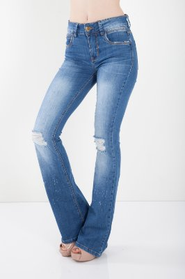 Calça Jeans Bana Bana High Flare com Puídos Azul