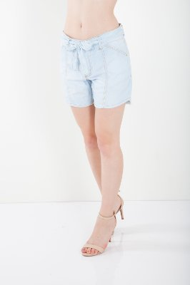 Bermuda Jeans Bana Bana Clochard com Recortes Azul