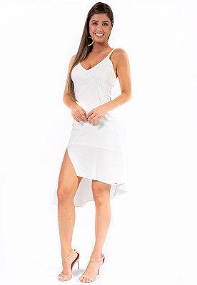 Vestido Midi Bana Bana Assimétrico Off White