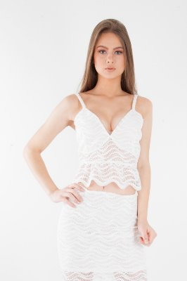 Cropped Bana Bana de Renda com Alça Off White