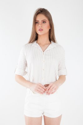 CAMISA CASUAL LISTRAS - BEGE