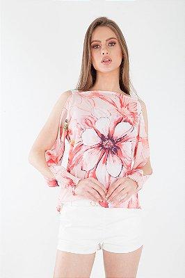 Blusa Bana Bana com Abertura nos Braços Estampada Floral Rosa