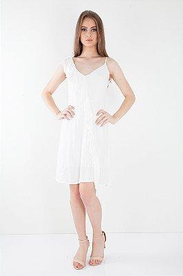 Vestido Curto Bana Bana com Babados Off White