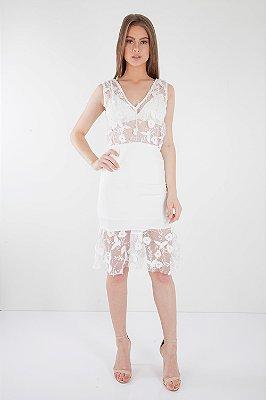 Vestido Midi Bana Bana em Tule Branco com Top