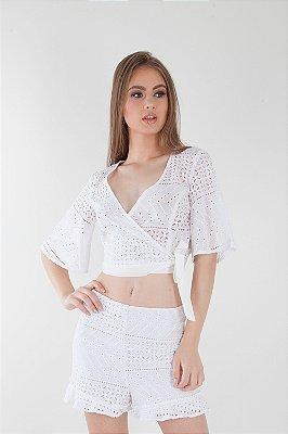 Blusa Bana Bana com Transpasse e Amarração Lese Branca