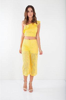 Calça Bana Bana Pantacourt com Forro Lese Amarela