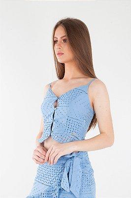 Blusa Bana Bana Cropped de Alça com Botões Frontais em Lese Azul Bebê