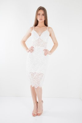 Vestido Curto Bana Bana em Renda Off White