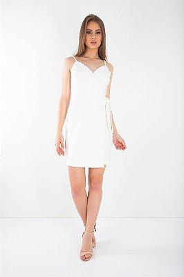 Vestido Curto Bana Bana Transpassado Off White