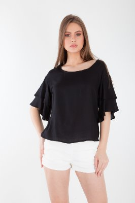 BLUSA LISA HAPPY HOUR - PRETO